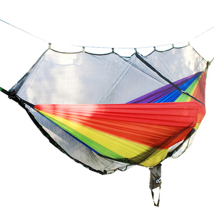 Image 5 - Detachable hammock mosquito net portable outdoor Survival nylon encryption mesh double person camping light weight hammock swing