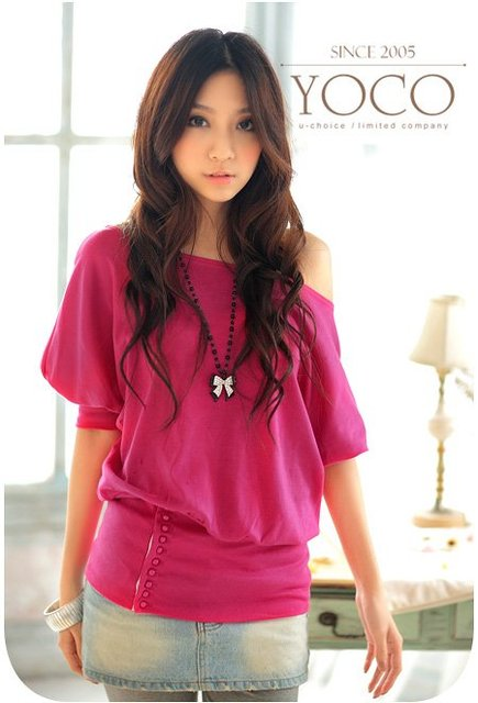 2011 new ladies' t shirt, Nine clasp+Plug size+Dew shoulder,free shipping hot sale