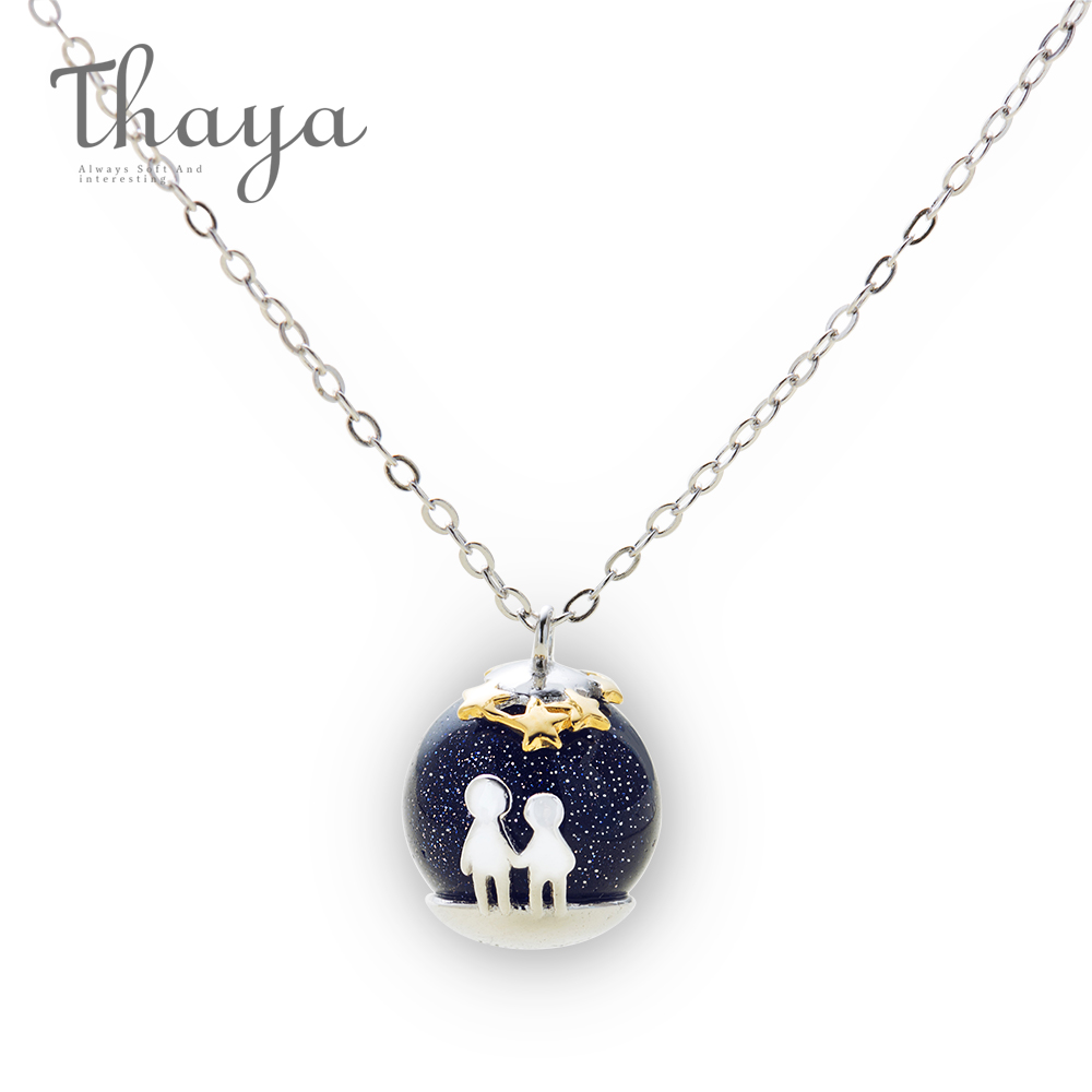 2e4e15cefe Thaya Party Blue Gravel Gem Stone Pendant Necklace S925 Sterling Silver  Children Childhood Necklace For Women Chic Unique Gift -in Necklaces from  Jewelry ...