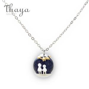 Image 3 - Thaya fête bleu gravier gemme pierre pendentif collier S925 en argent Sterling enfants enfance collier pour les femmes Chic cadeau Unique