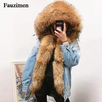 Women Fur Jeans coat Large Fur Collar Hooded Women Winter Coat Jacket Denim Luxury Fox Fur Lining Outwear Brand Style Parkas