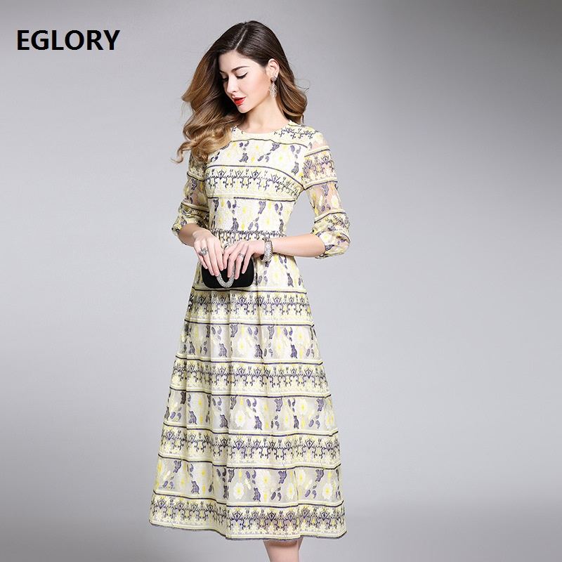 New Brand Style 2018 Spring Summer Dress High Quality Women Luxury Embroidery Lace 3/4 Sleeve Big Swing Flared Dress Yellow XXXL
