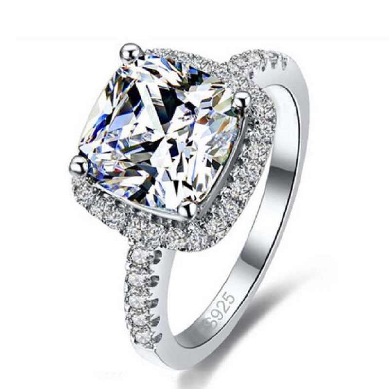 คุณภาพสูง 925 เงินสเตอร์ลิงแหวนหมั้น Anel สำหรับผู้หญิงผู้ชายคริสตัลแฟชั่น Casual เครื่องประดับ Hot