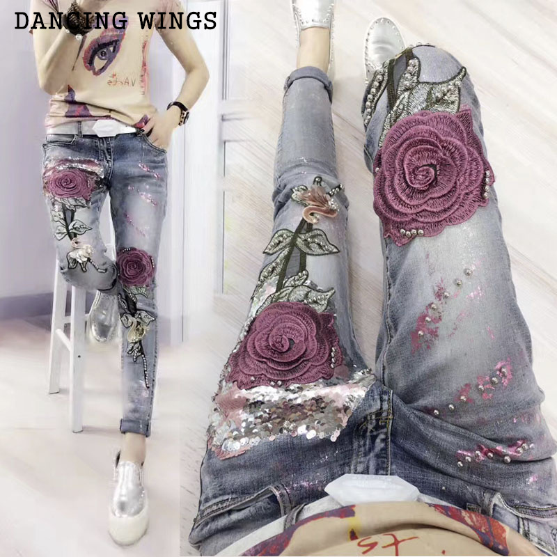 Personality Women's Pencil   Jeans   Spring rose embroidery fashion sequins Elastic Stretch Trousers