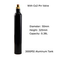 New Paintball Air Gun Airsoft PCP CO2 Tank Cyclinder 3000PSI 0.38L CO2 Bottle 5/8 18UNF Threads With Co2 tank Pin Valve