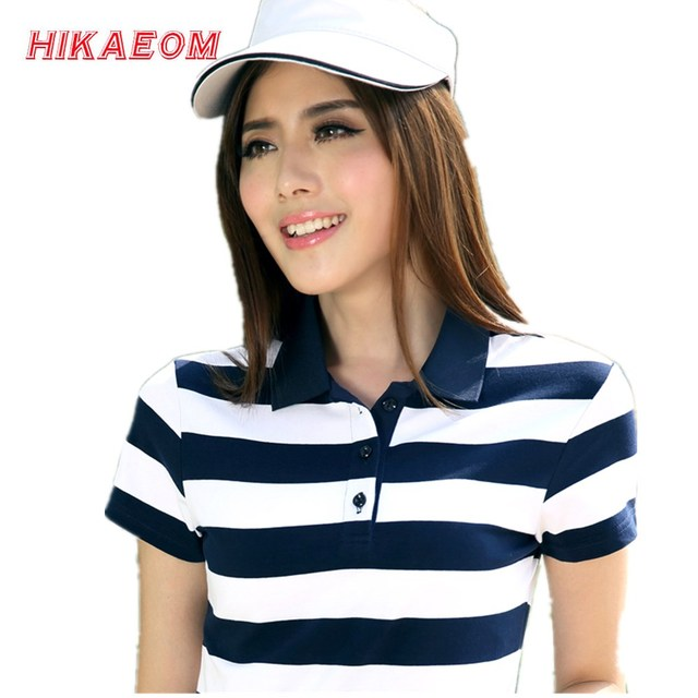 a4c554af14a 2018 Spring New Summer Striped Cotton Short Sleeved Polos Womens Polo Tops  Plus Size Slim Female Women Polo Shirts 2018