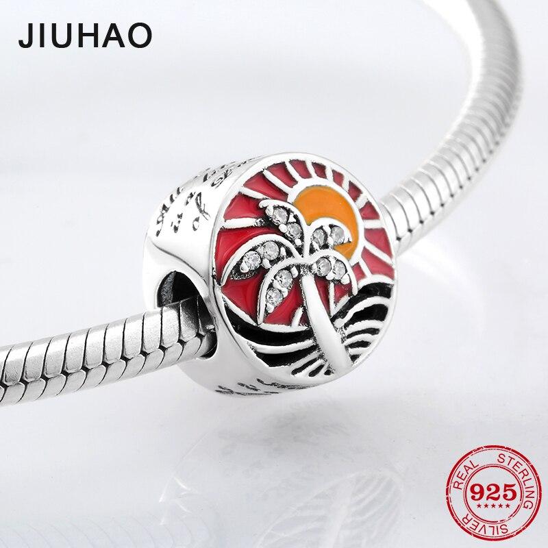 Summer sun 925 Sterling Silver red Enamel Sea wave Coconut tree CZ beads Fit Original Pandora Charm Bracelet Jewelry making