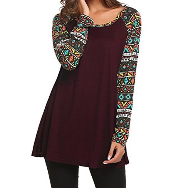 1c700697114 Women s Casual Round Neck Geometric Basic Swing Long Sleeve Tunic Tops T- Shirts spring autumn women 2018 new o neck t shirt