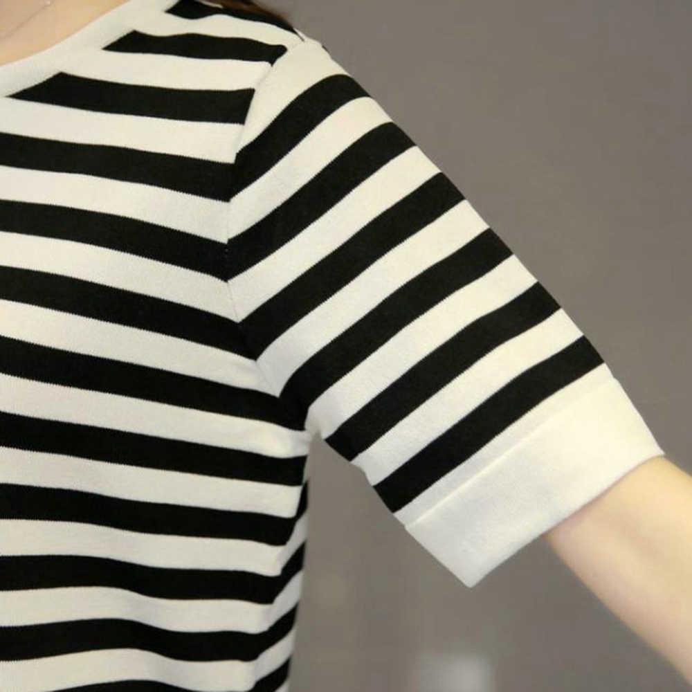 Allentato delle donne di Bianco E Nero A Strisce Tee Streetwear Donne Manica Corta Magliette e camicette di Base di Estate T-Shirt Dolce E Romantico Hot vendita
