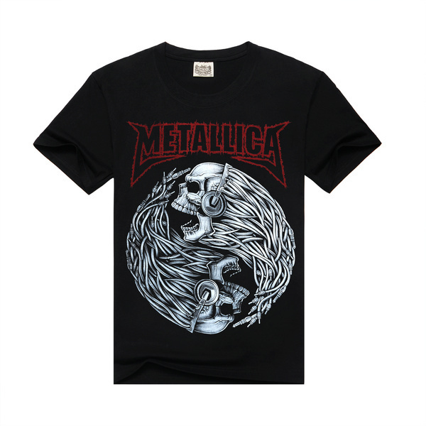 f6164e83b7a Rocksir 2017 new T Shirt Men Rock design short sleeve black Skull Printed  Metallica Band Clothing mens rock t shirts fashion