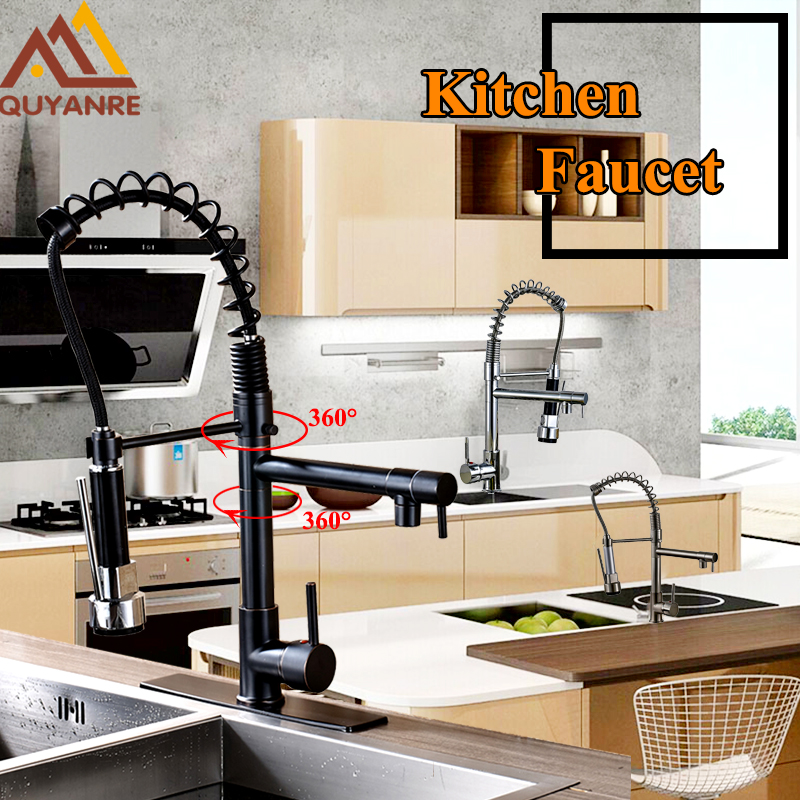 Kitchen Spring Faucet 360 Swivel Rotation Dual Spouts Kitchen Faucet Single Lever Deck Mounted Mixer Taps Deck Mounted Tap modern led changing deck mount brushed nickel spring kitchen faucet dual swivel spouts mixer tap