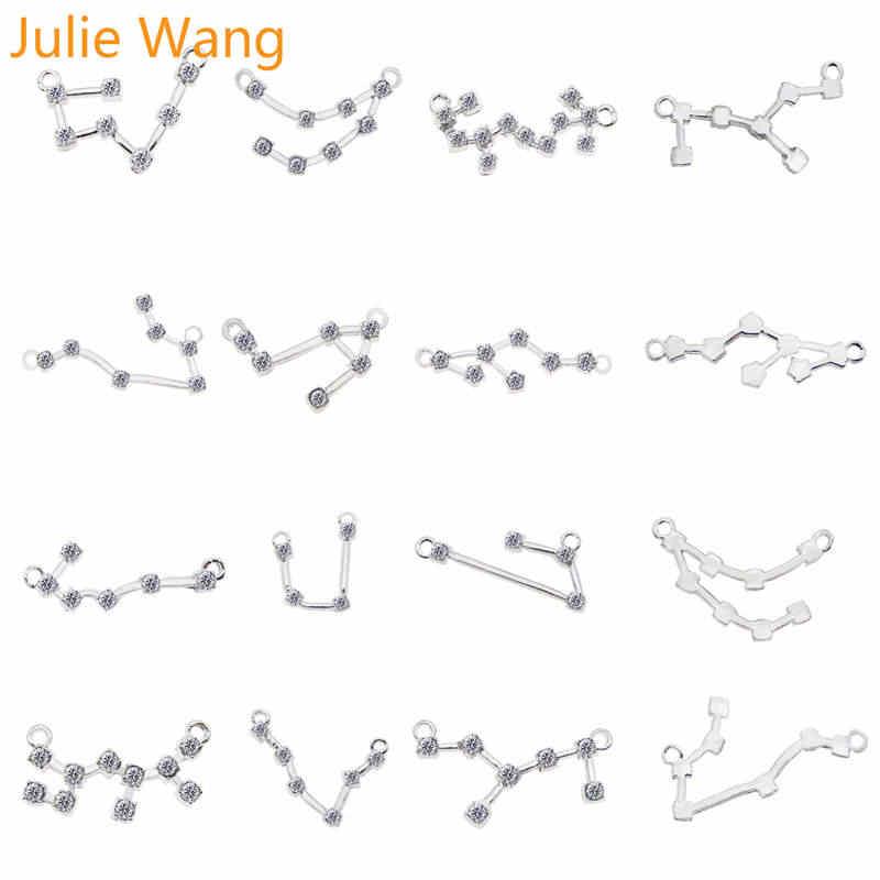 ג 'ולי וואנג 12PCS לבן K מעורב 12 קבוצות כוכבים מזלות קסמי זירקון סגסוגת שרשרת צמיד תכשיטי ביצוע אבזר