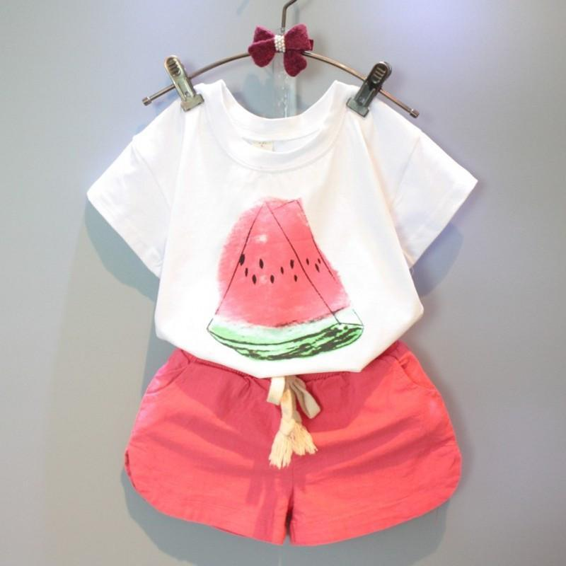 Girls Clothing Sets 2018 New Summer Casual Kids clothes Watermelon Pattern T-shirt Red Shorts 2pcs Children Clothing Suits 2018 new fashion summer girls children clothing sets sleeveless t shirt red tank top vest skirts 2psc girls clothes suits