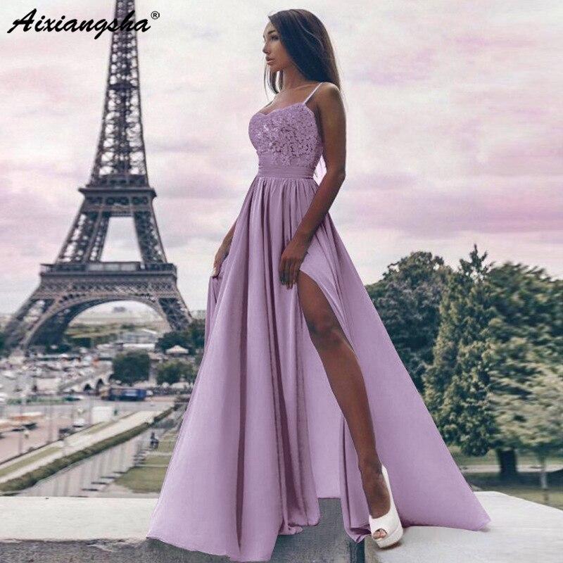 Sky Blue 2019 Long   Prom     Dresses   Boat Neck A-line Side Split Plus Size Applique Halter Pleat Evening Gown robe de soiree