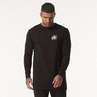 GINGTTO Long Sleeve T Shirt Men Black Hip Hop Drop Shoulder Longline Oversized Tee Male Autumn