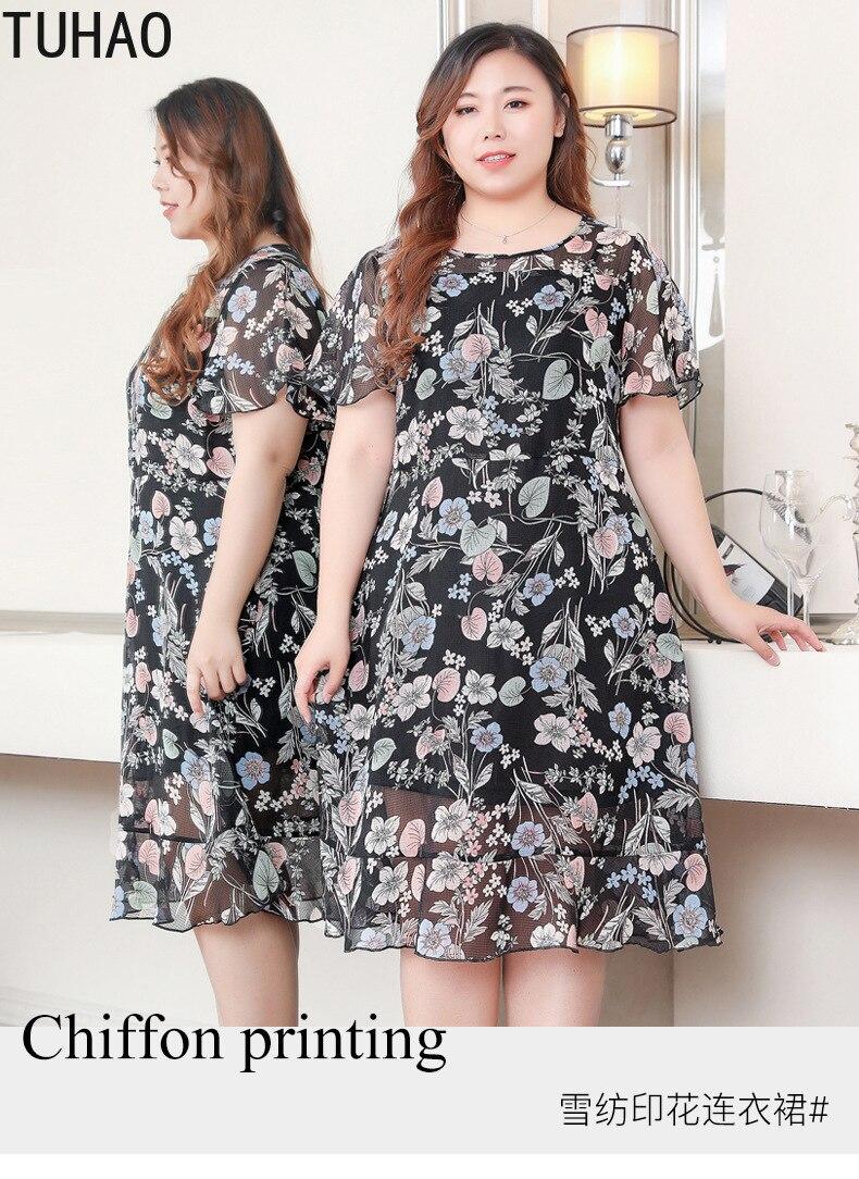 TUHAO 2019 bureau dame en mousseline de soie robe grande taille 10XL 9XL 8XL 7XL femme élégante Vintage robe de plage grande taille robes de fête - 6