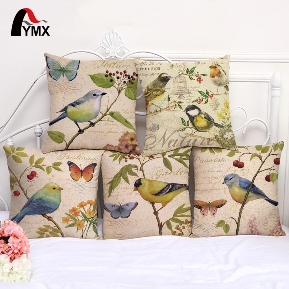 Наволочка для подушки ручной работы с принтом птиц в пасторальном стиле из хлопка и конопли, наволочка для подушки, декоративная наволочка для домашнего окна