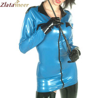 Sexy Latex Military Dress Rubber Uniform Playsuit Garrison Cosplay with Gloves LU031