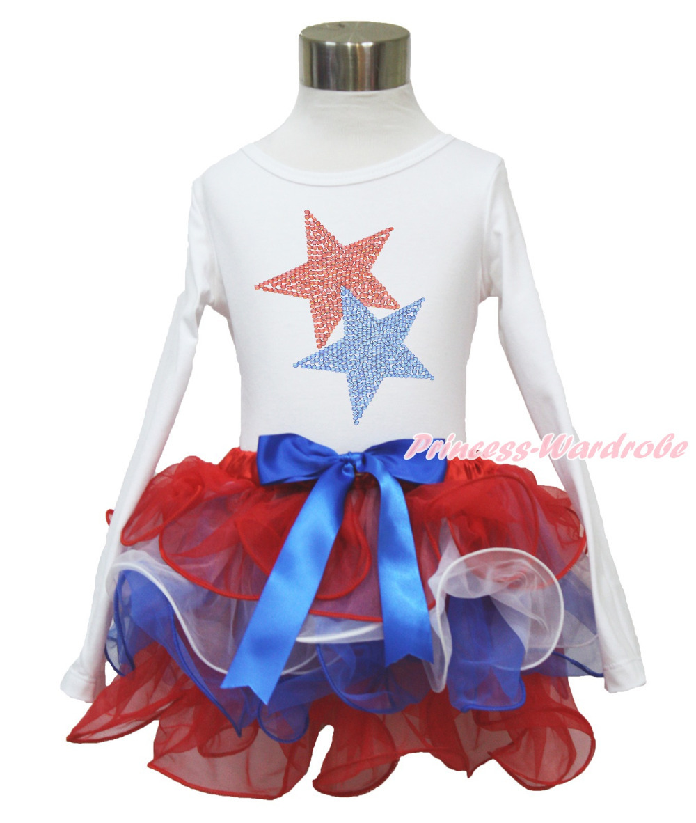 4th July Rhinestone Star White Long Sleeves Pettitop Red White Blue Petal Pettiskirt NB-8Year MAMH217 pumpkin print white pettitop coral petal skirt nb 8year baby girl mamh241