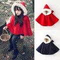 2016 зима осень мода детская хлопок темно-красный плащ с капюшоном новорожденных девочек кабо pattern детские мальчики девочки пальто куртки шаль