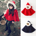 2016 winter autumn fashion children's cotton navy red hooded cloak baby girls cape pattern kids boys girl coats jackets shawl