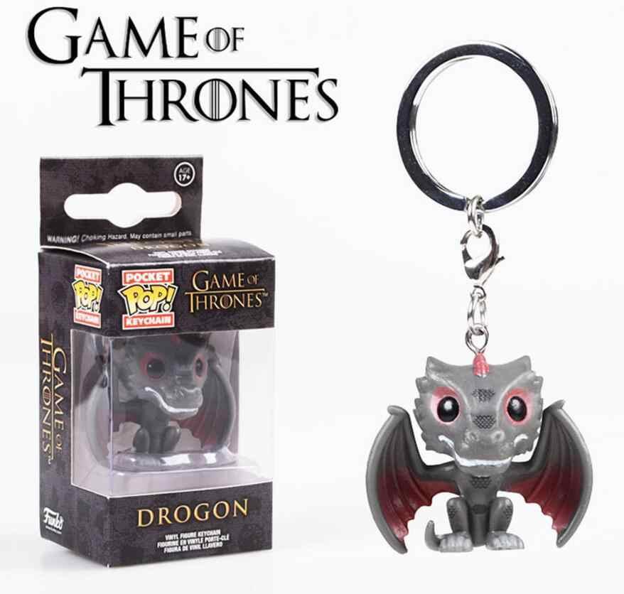 Pop nowa gra o tron pieśń lodu i ognia Jon Snow Daenerys Ghost Night King akcesoria do breloków model figurki kolekcja zabawka