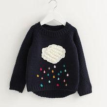 9a1aca340d615 TELOTUNY bébé fille chaud tricot chandail tops Enfants hiver À Manches  Longues de Bande Dessinée Dinosaure