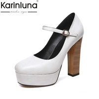 KARINLUNA/размеры 32-42, Женские Классические Туфли Мэри Джейн, винтажные туфли на высоком толстом каблуке, туфли-лодочки на платформе с квадратны...