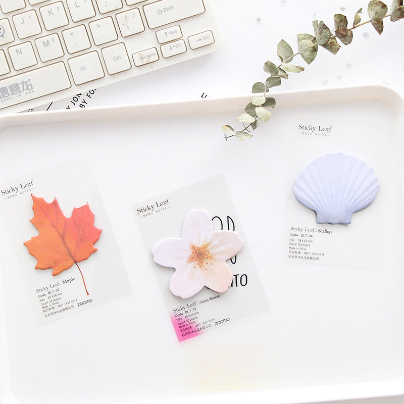 20 Sheets Cute Kawaii Paper Sticky Memo Pad Creative Maple Shell Flower Leaf Post Note For Kids Stationery Gift School Supplies