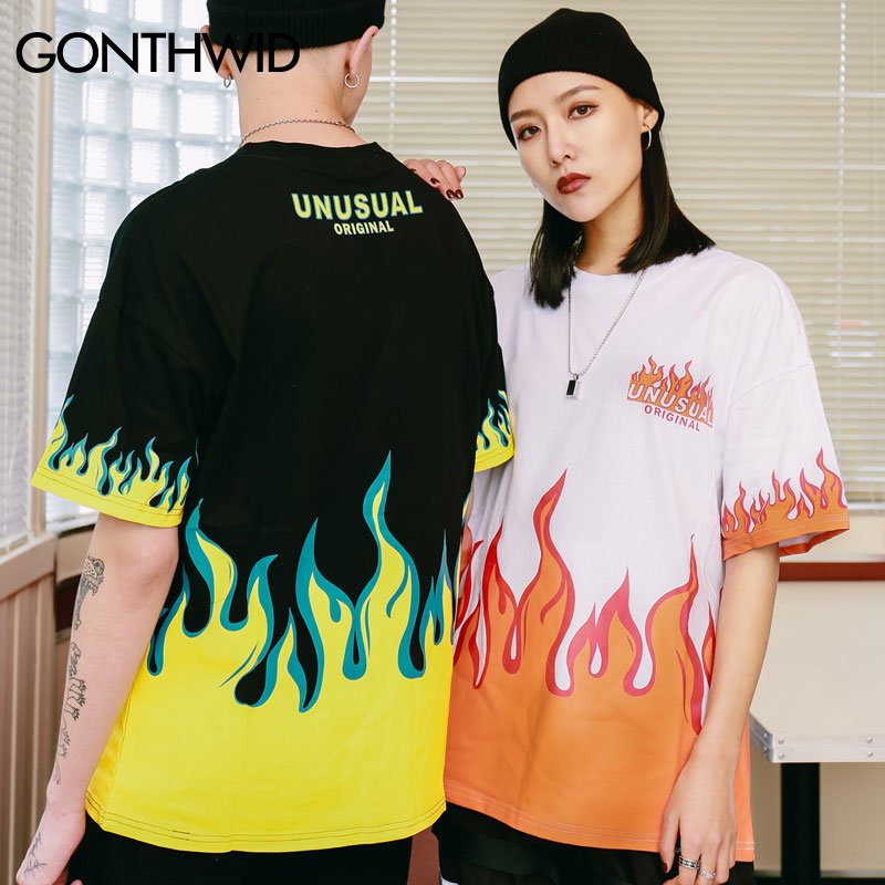 Image 5 - GONTHWID Hip Hop Fire Flame Printed T Shirts Streetwear 2019 Summer Men Casual Short Sleeve Tshirts Male Fashion Cotton Top Tees-in T-Shirts from Men's Clothing