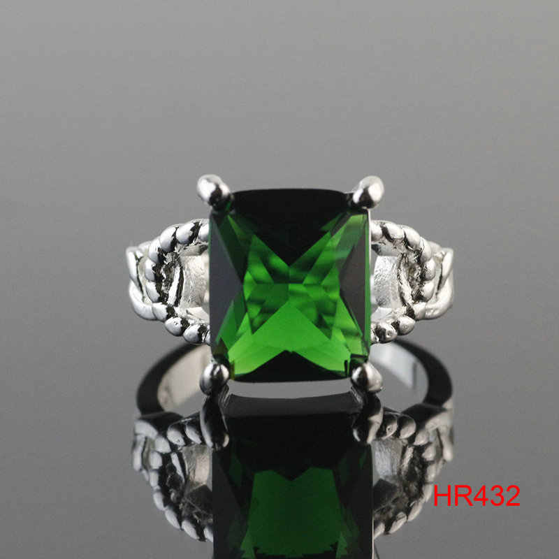 Frete Grátis Os Homens/Mulheres 925 Sterling Silver Moda Tamanho 8 Verde zircon Anéis Presente ZJZ 11