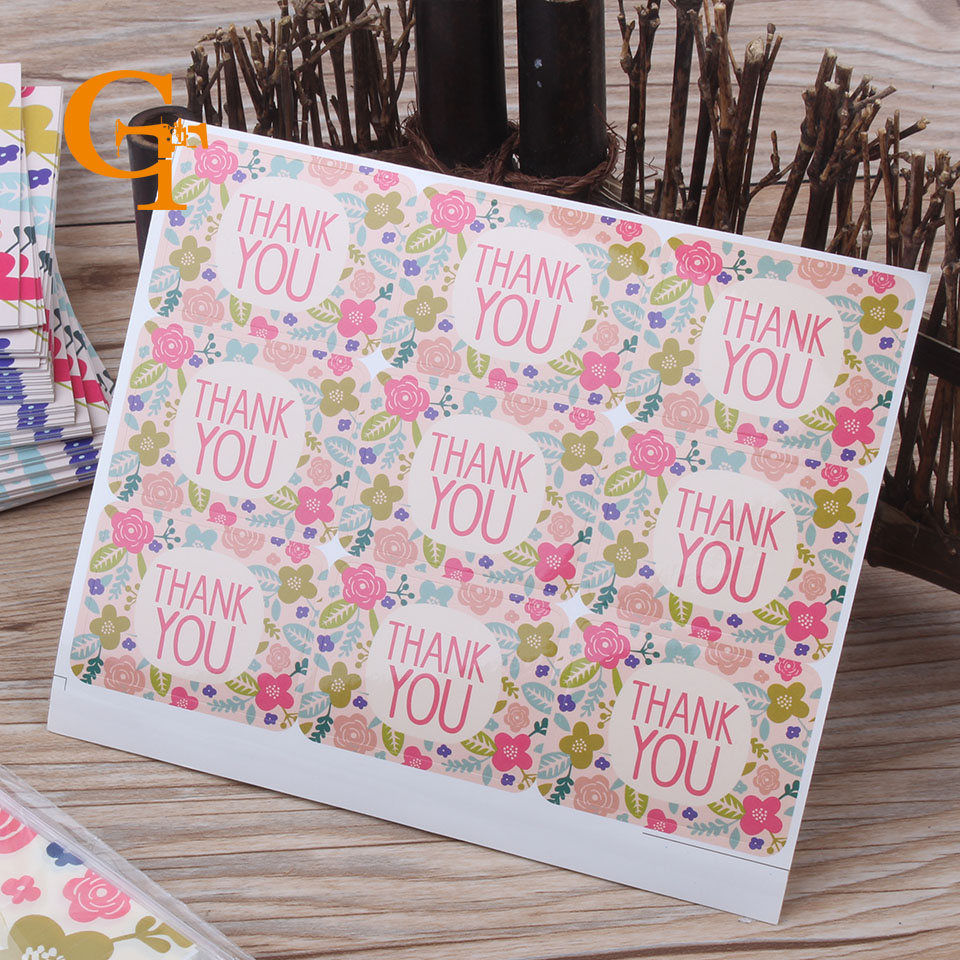 Us 13 57 5 Off Free Shipping Promotion An Flower Thank You Sticker Envelope Wedding Favors Invitations Seal Stickers Gift Packaging In