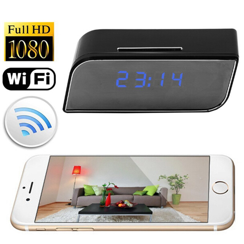 1080P WIFI Mini Camera Time Alarm Wireless Nanny Clock P2P Security Motion Detection Home Security 1080p mini camera hd wifi clock camera time alarm p2p nanny motion detection night vision remote monitor wireless ip micro cam