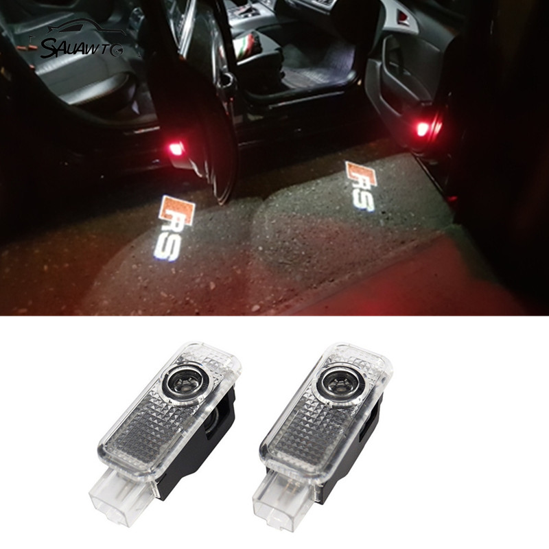 2X For Audi RS A6 C5 C6 B6 B7 S6 A4 A5 A7 A8 A1 A3 B5 C7 TT SLINE S LINE Quattro Q3 Q5 Q7 LED Car Door Welcome Light Logo Light