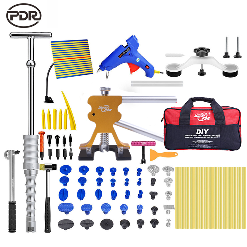 PDR paintless dent removal tools kit car body dent repair tool set Reflector Dent Puller Suction Cups Glue glue dent lifter pdr tools paintless dent repair car repair tool set dent removal mini lifter bridge puller glue tabs fungi suction cups for dent