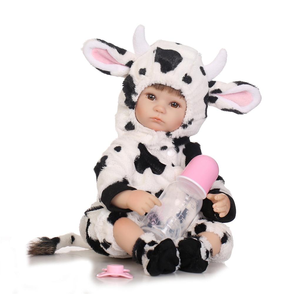 40 cm fille Reborn bébé poupées belle vache dessin animé Silicone Bebe-reborn bébé poupée jouets pour enfants anniversaire cadeaux de noël