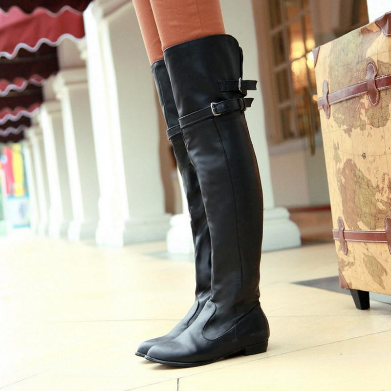 Size 34 45 Women Flat Over Knee Boots Ladies Fashion Long Snow Boot Warm  Winter Brand Botas Footwear Shoes P9460-in Over-the-Knee Boots from Shoes  on ... 5d08a764c409