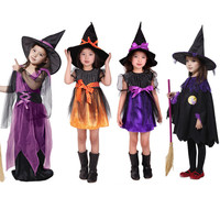 Girl Witch Dress Hat Children S Day Costumes Princess Party Dresses Kids Children Clothing Carnival Halloween