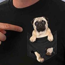 Pug bolsillo T Shirt Pug bolsillo interior los amantes de perro caliente negro ropa de verano de los hombres de algodón camiseta de alta calidad hombres Cool camisetas Tops