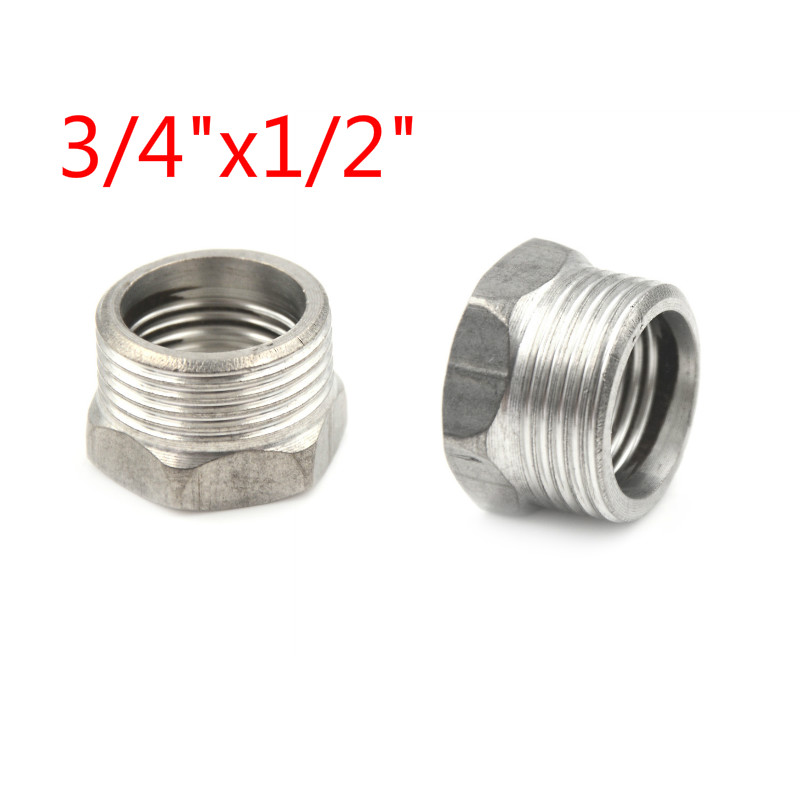 NPT Stainless Steel 304 Bushing Pipe Fittings 1//2 3//4 Female x Male Nipple Bush Adapter 1//2 Female x 1//2 Male