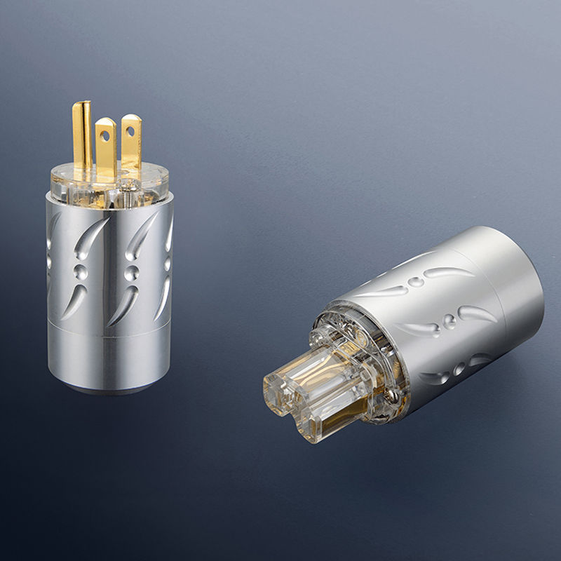 Free shipping One pair Viborg VM512G&VF512G Pure Copper Gold Plated HIFI US Power Plug+IEC Female Connector купить