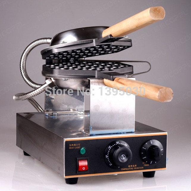 ФОТО Popular Electric Egg Waffle Machine Stainless Steel Hong Kong Egg Waffle Grill Commercial Waffle Maker