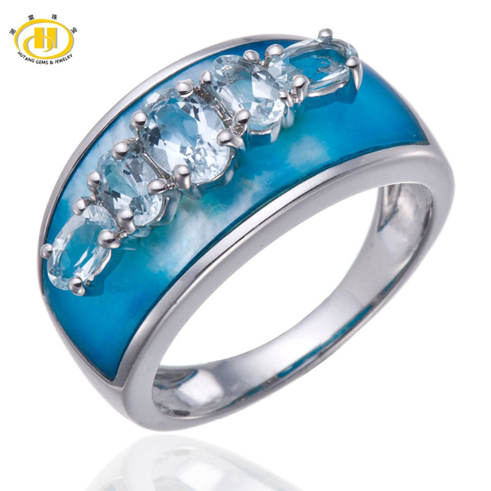 Hutang Natural White Topaz & Blue Mother Of Pearl Solid 925 Sterling Silver  Ring Wholesale Fine