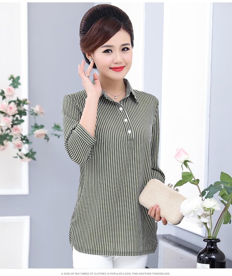 Women Casual Shirts Vertical Stripe Blouses Woman Three Quater Sleeve Top Mother Leisure Shirt Green Black Khaki Stripes Blouse (13)