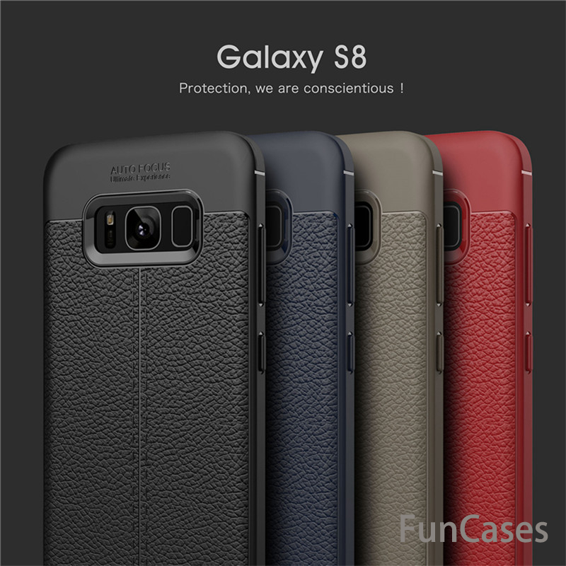 Carbon Fiber Capa Soft TPU Leather Case For Samsung Galaxy Note 8 S7 S7 Edge S8 S8 Plus Silicone Coque Shockproof Armor Case