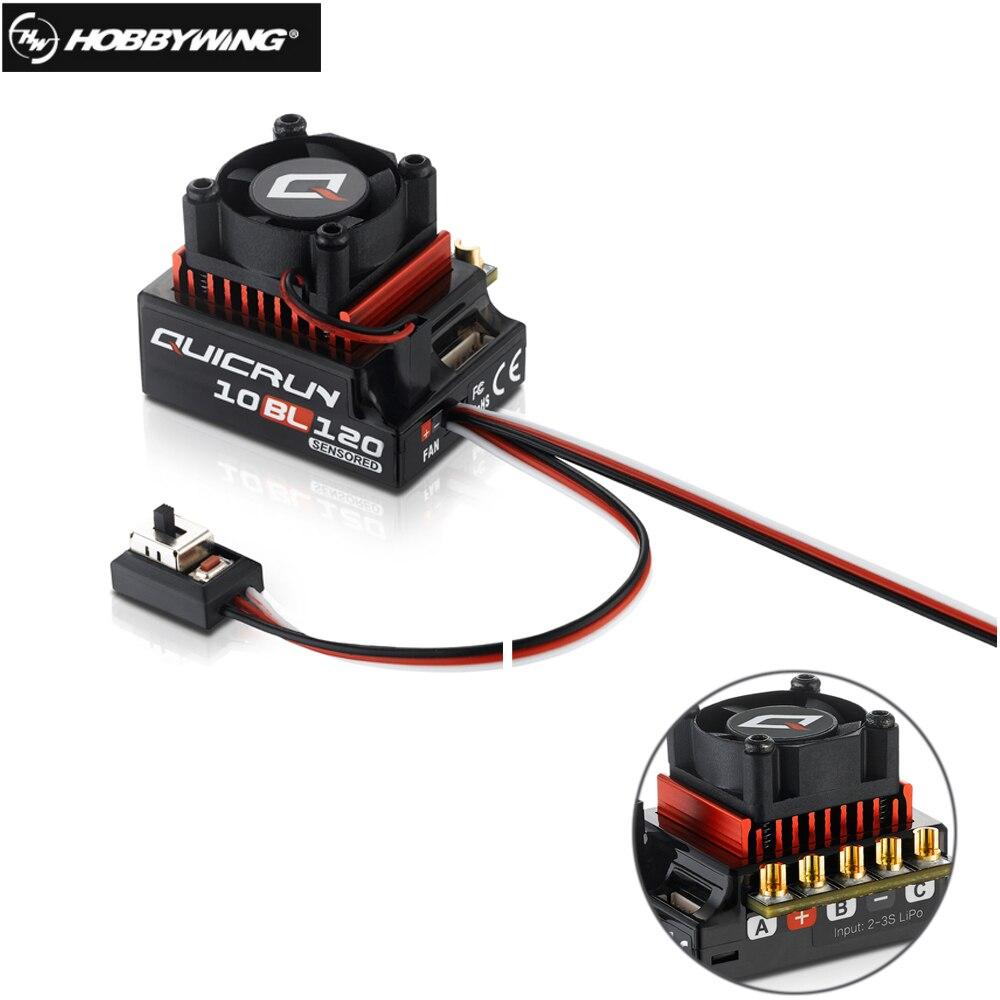 Оригинальный Hobbywing QUICRUN 10BL120 датчиками 120A 2-3 S Lipo Скорость контроллер бесщеточный ESC для 1/10 1/12 RC автомобилей