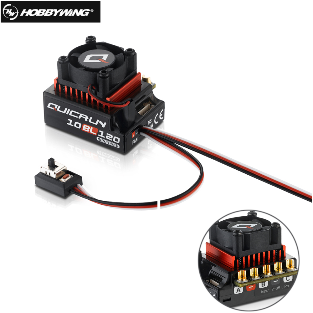 Original Hobbywing QUICRUN 10BL120 Sensored 120A 2-3S Lipo Speed Controller Brushless ESC for 1/10 1/12 RC Car