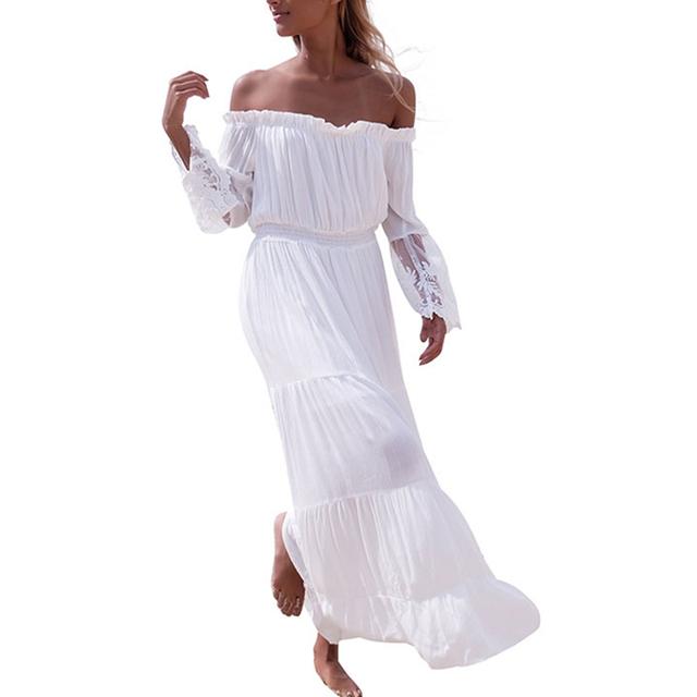 Smoves Fora Do Ombro Rendas de Croché Branco Elástico da Cintura das Mulheres Vestido Maxi Bordado Longo Primavera Verão Beach Dress Vestido de Verão Novo