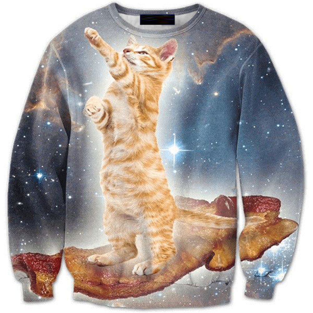 3d Gothic Pullover Men Clothes Standing Cat Novelty Outwear Male Streetwear Starry Sky New Fashion Spring Casual Sweatshirt