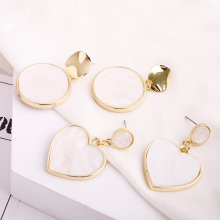 New Charm Pendant Earrings Girls Personality Simple Design Heart-Shaped Round Ladies Party Clothing Accessories